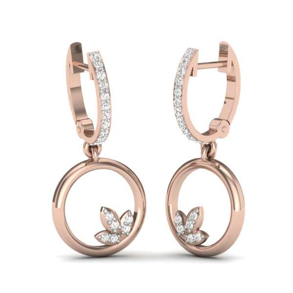 Circle Diamond Flower Earring