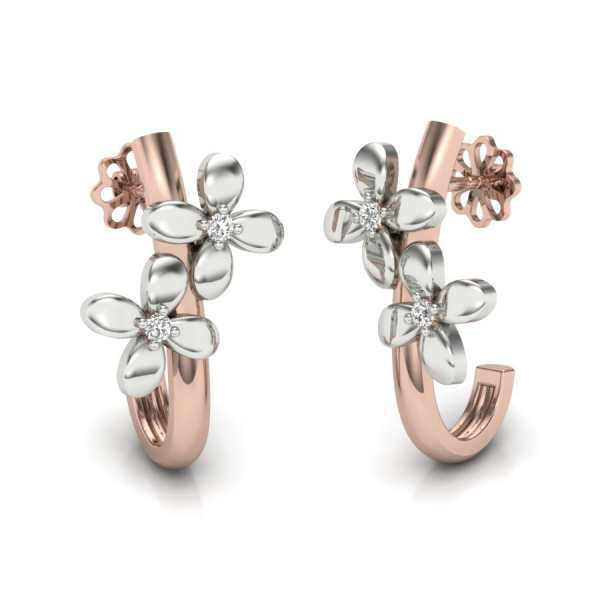 Two Flower With 2 Diamond Earr