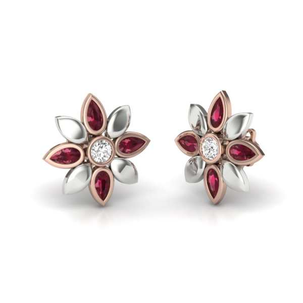 Four Red Diamond Earring