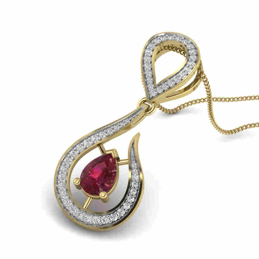 Hooked Ruby Diamond Pendant