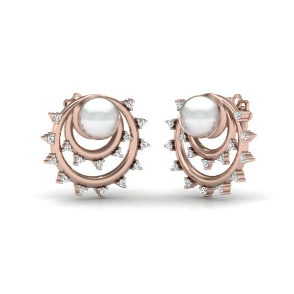 Two Circle With Diamond Earrin