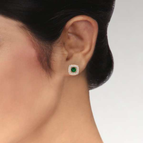 Green Diamond Square Earring