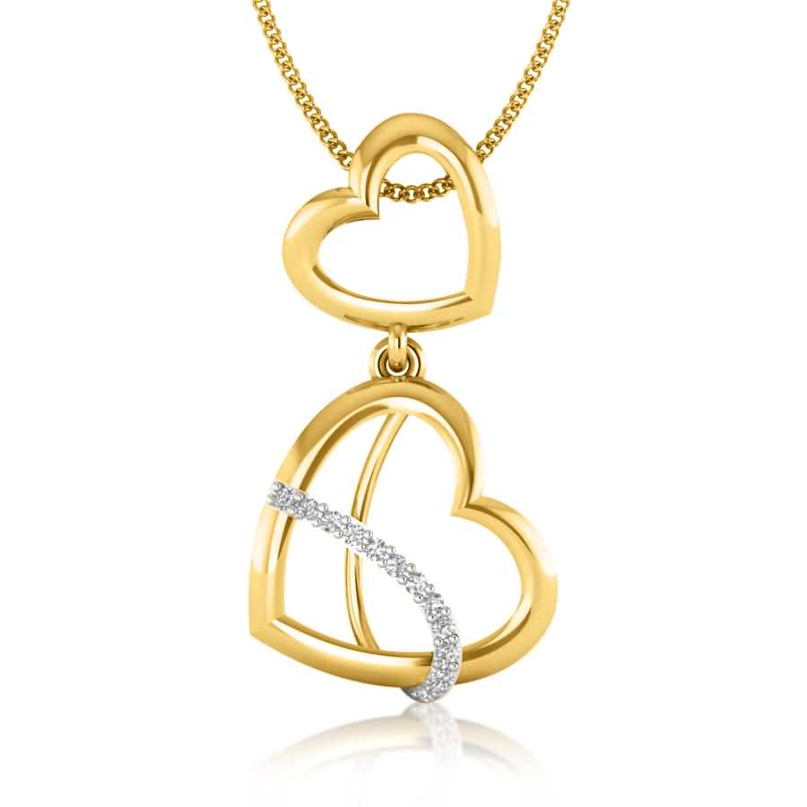 Droopy Hearts Diamond Pendant