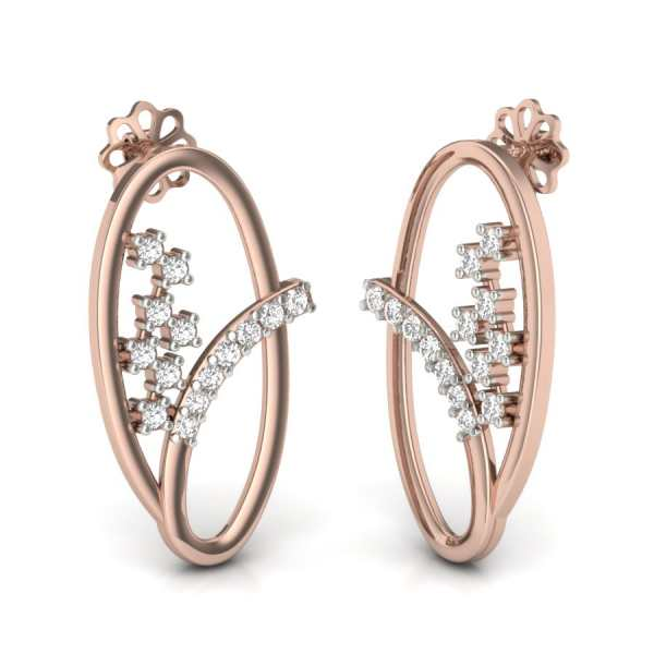 Cross Oval Diamond Earring