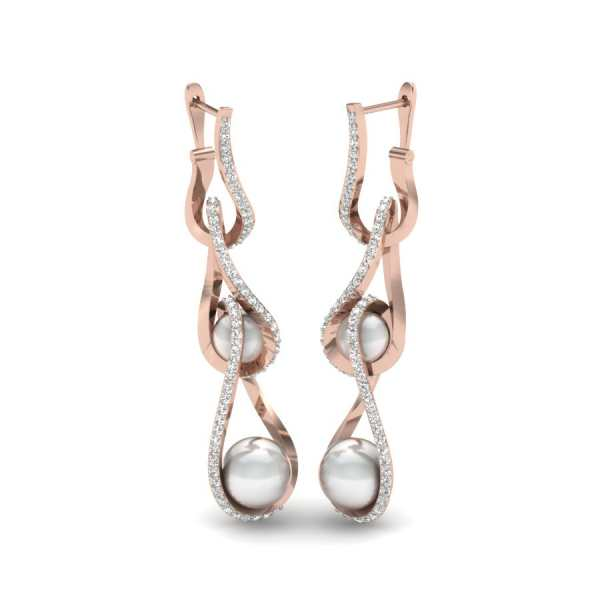 Wave Line Diamond Earring