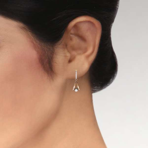 Two Oval Shape With Pearl Earr