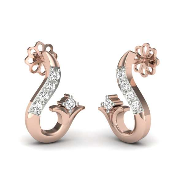 Zig-Zag Shape Diamond Earring