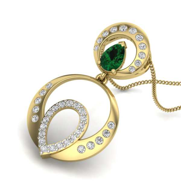 Studded Oval Pearl Pendant