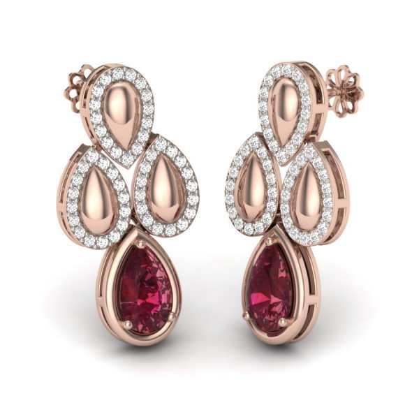 Maroon Diamond Earring