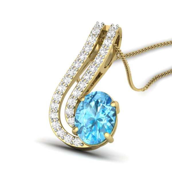 Trendy Aqua Diamond Pendant