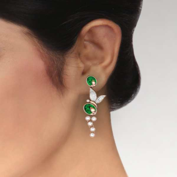 Green Oval Shape Diamond Earri