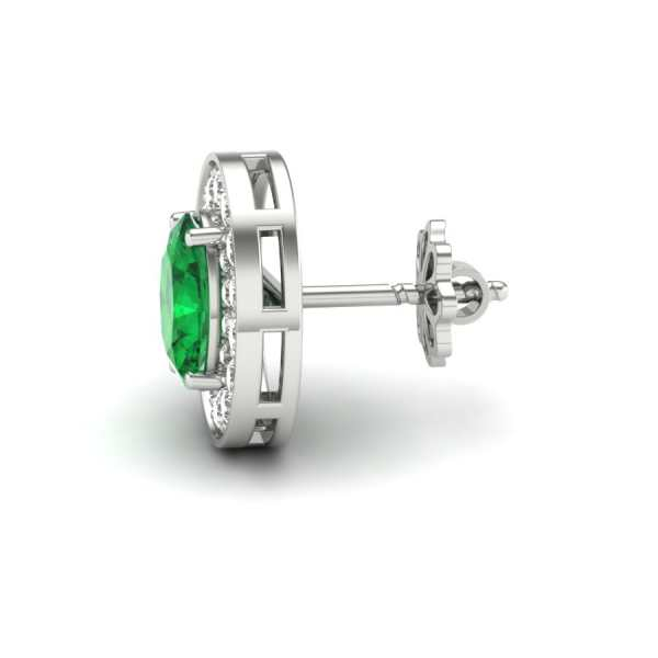 Green With White Diamond Earri
