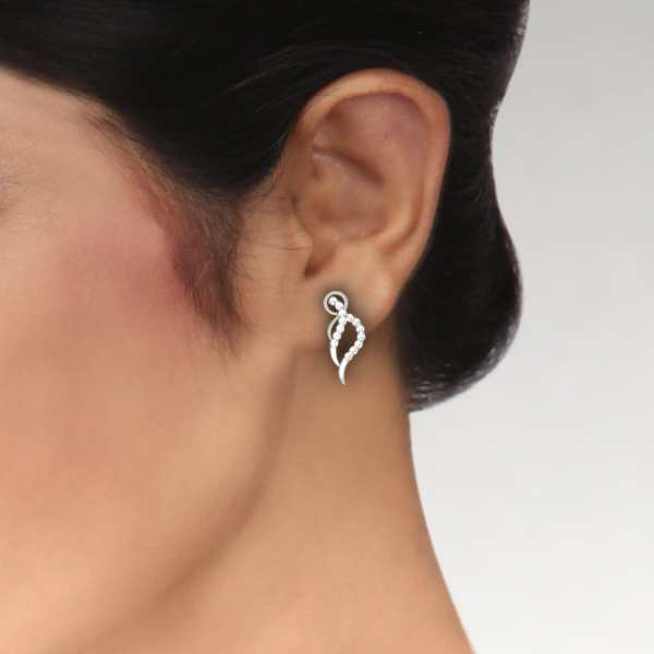 Cross Line Diamond Earring