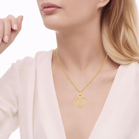 Letter U Diamond Pendant