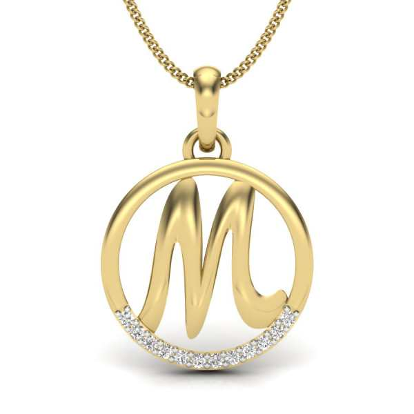Letter M Diamond Pendant