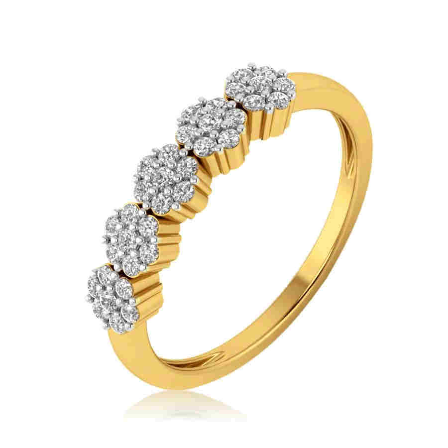 5 Flower Diamond Ring