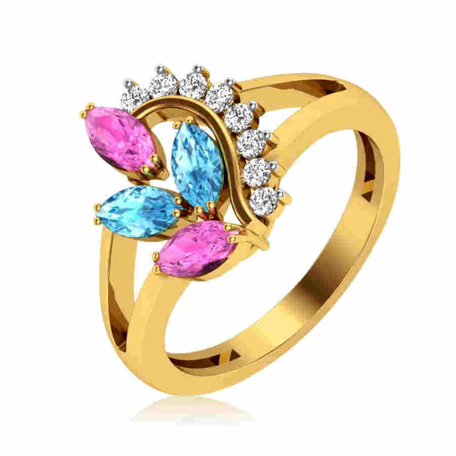 Colory Leaf Diamond Ring