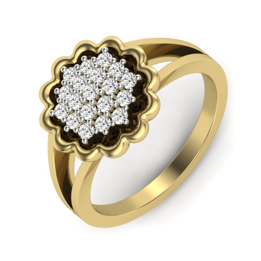 Engraved Flower Diamond Ring