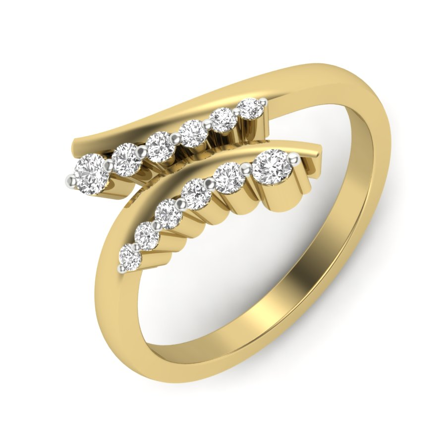 Cross Two Line Diamond Ring