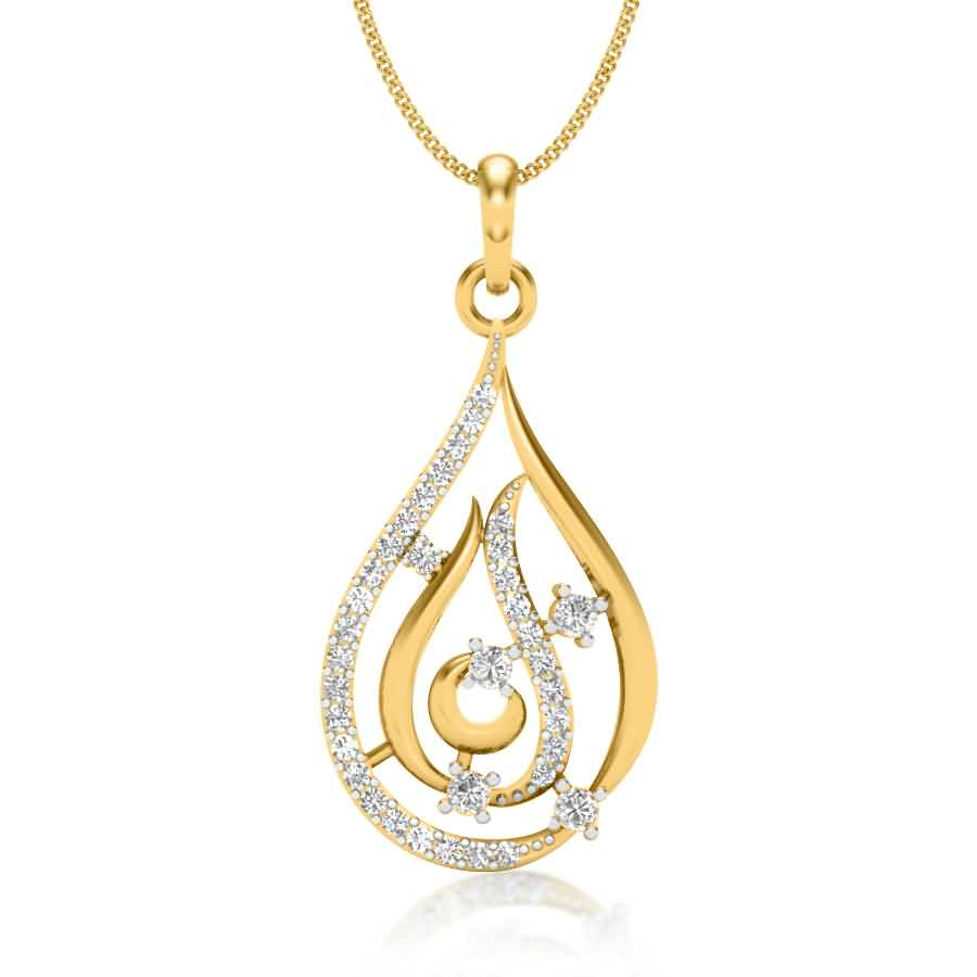 Shining Petal Diamond Pendant