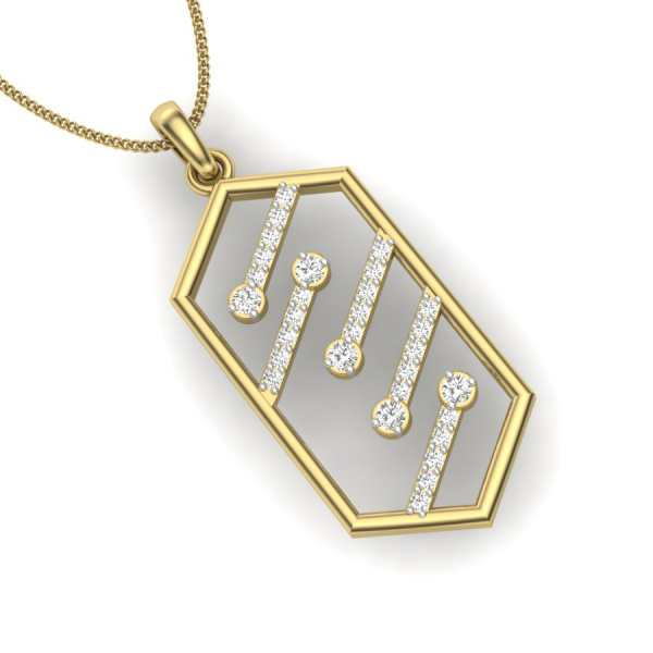 Hexagon Style Diamond Pendant