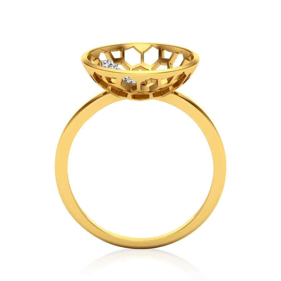 Heart in Moon Diamond Ring