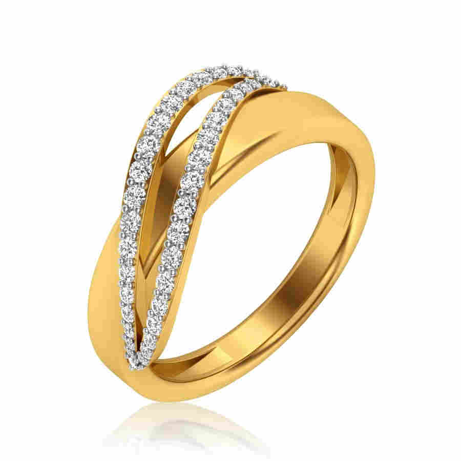 Curvy Crossover Diamond Ring