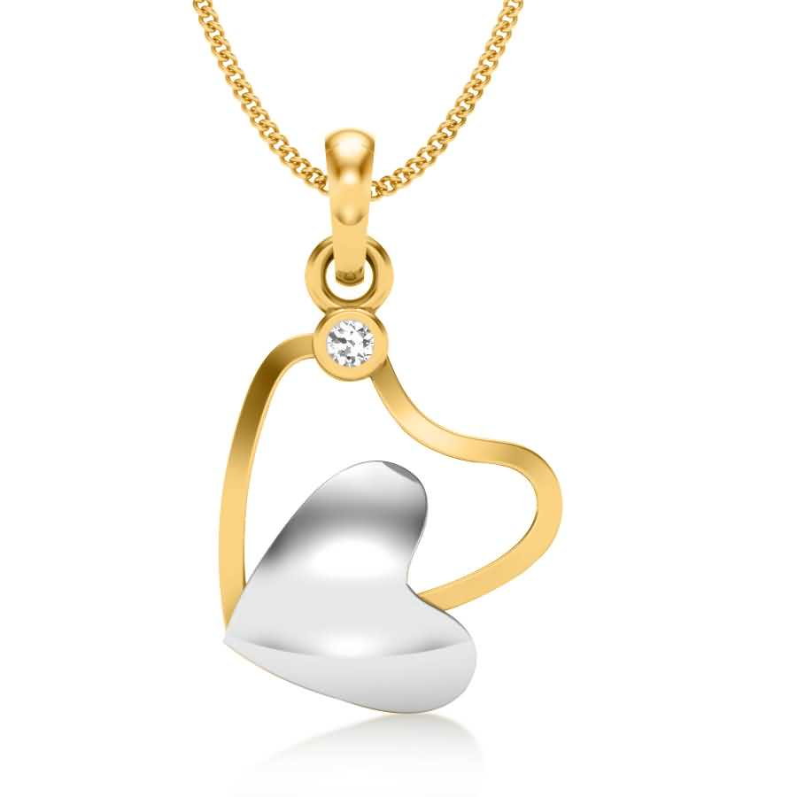 Single Diamond Hearts Pendant