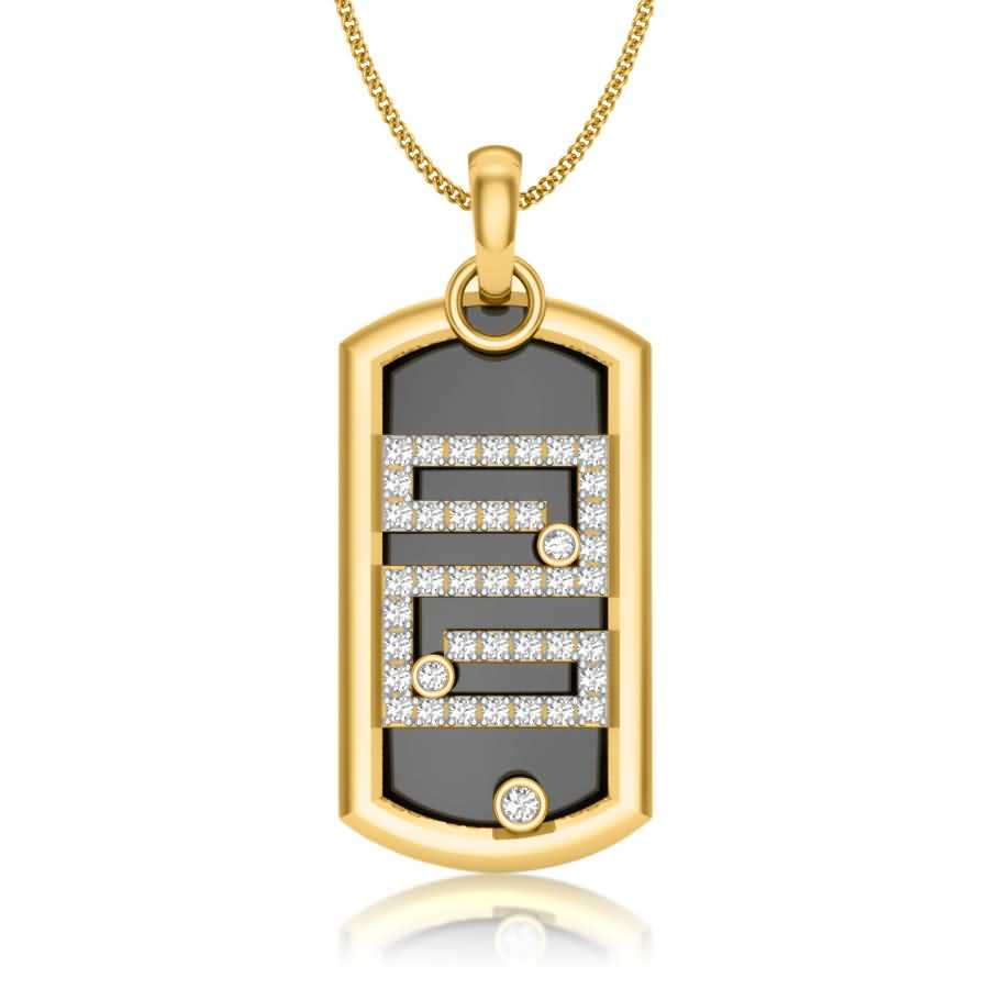 Line N Dots Diamond Pendant