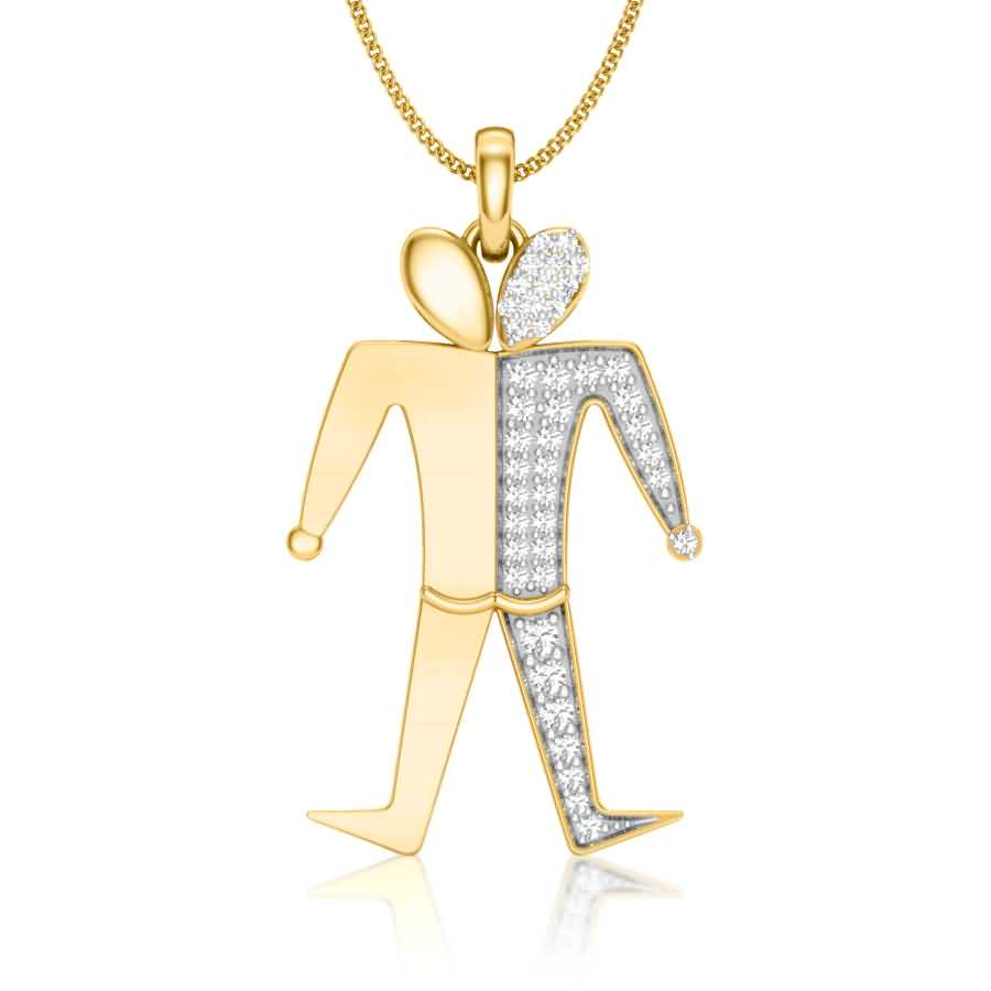 Walking Man Diamond Pendant