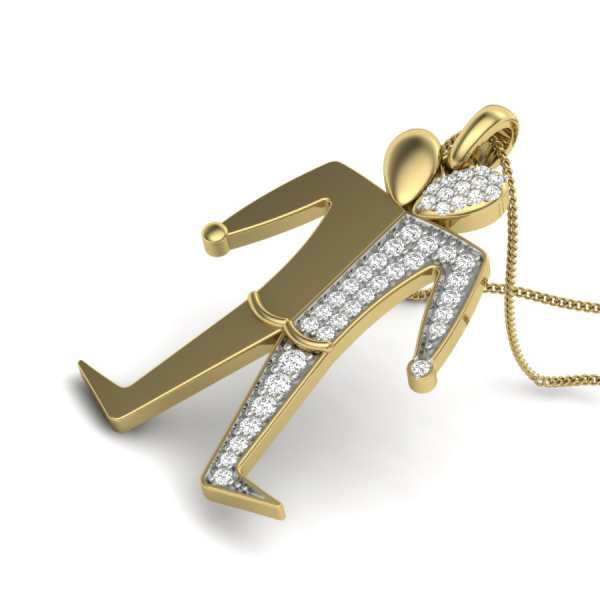 Walking Man Diamond Pendant