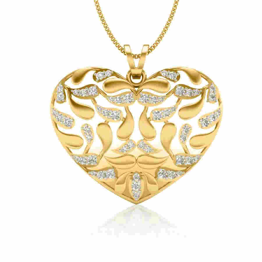 Meshed Heart Diamond Pendant