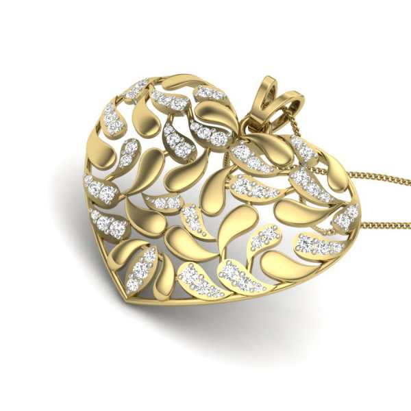 Meshed Heart Diamond Pendant