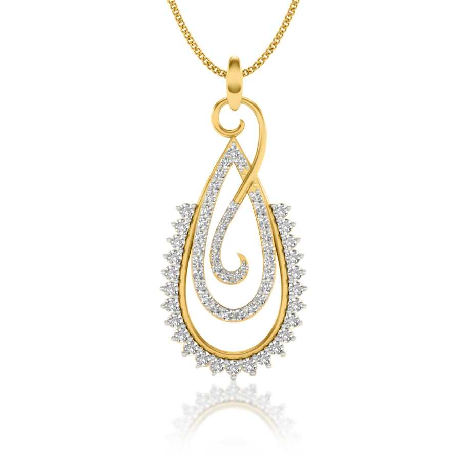 Peer Shape Diamond Pendant