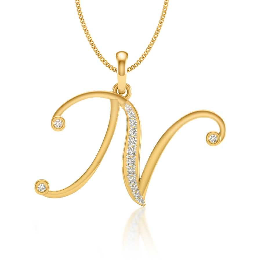 N Diamond Pendant