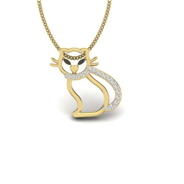 Charming Cat Diamond Pendant