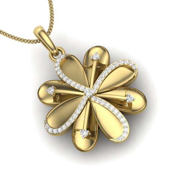 Golden Flower Diamond Pendant