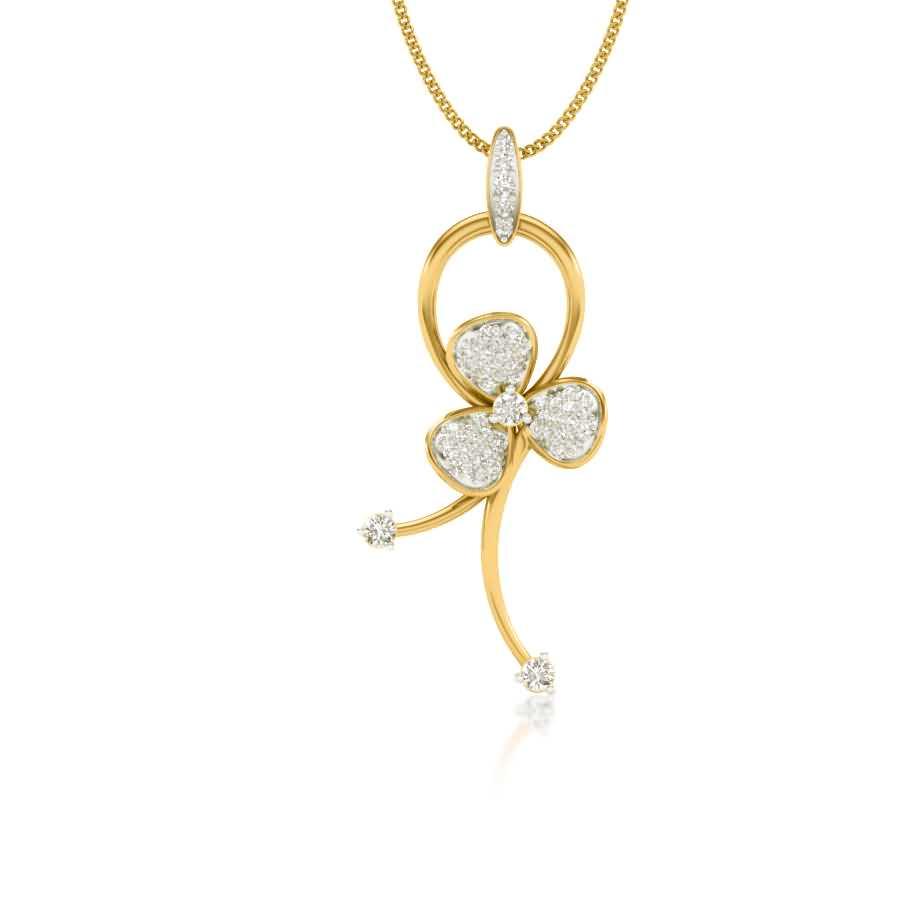 Lily Floral Diamond Pendant