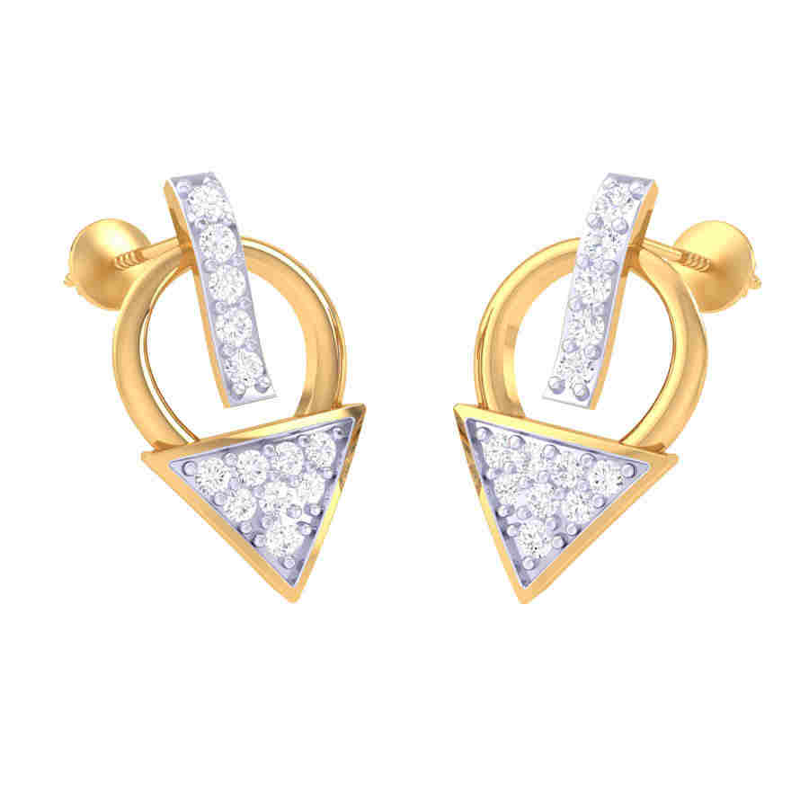 Tringle Shape Diamond Earring