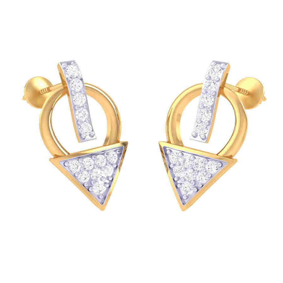 Tringle Shape Diamond Earring