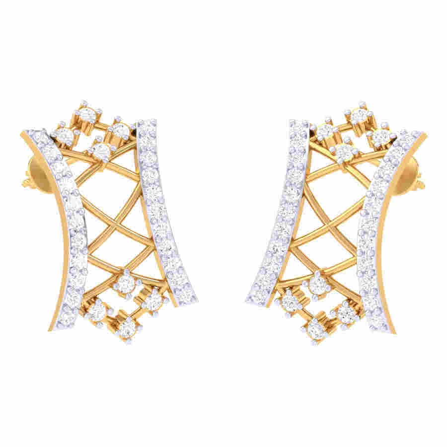 Mesh Design Diamond Earring