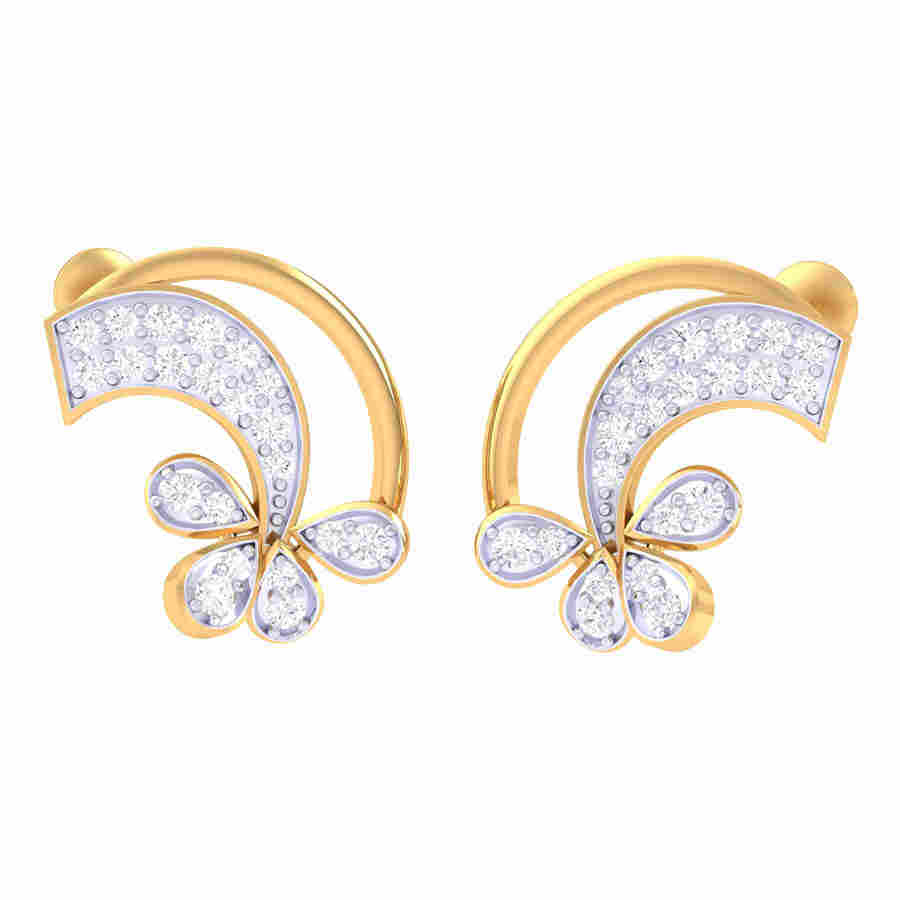 Turned Flower Diamond Earring