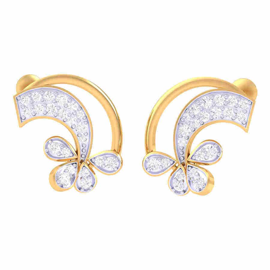 Turned Flower Diamond Earring