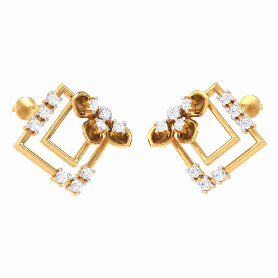 Fancy Designed Diamond Earring