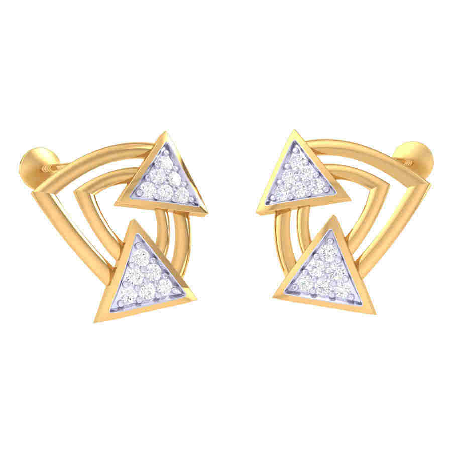 Twins Triangle Diamond Earring
