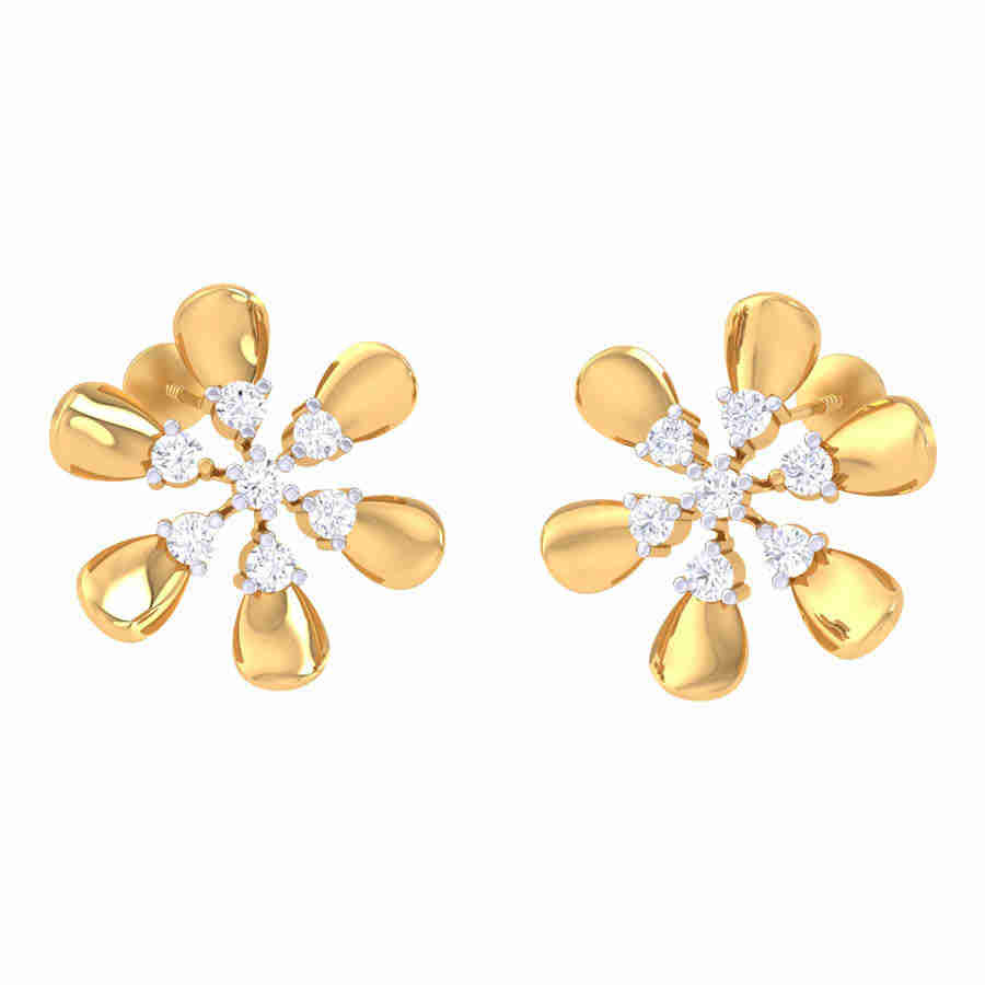 Dancing Floral Diamond Earring