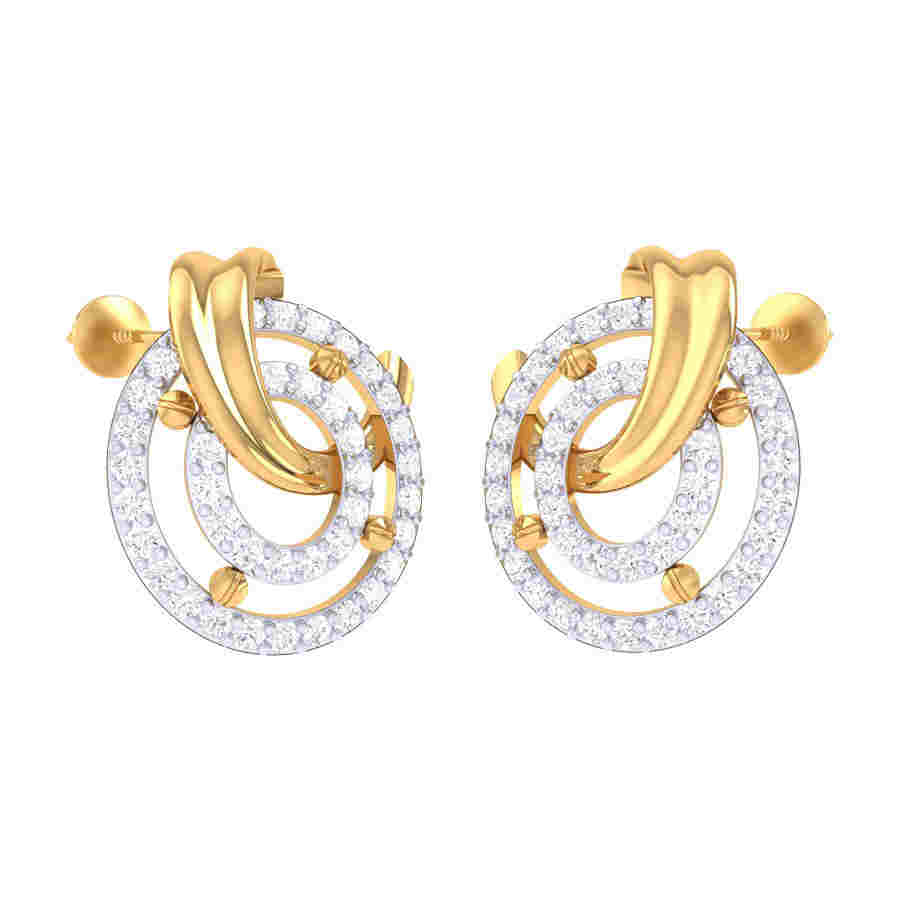 2 Rounded Diamond Earring