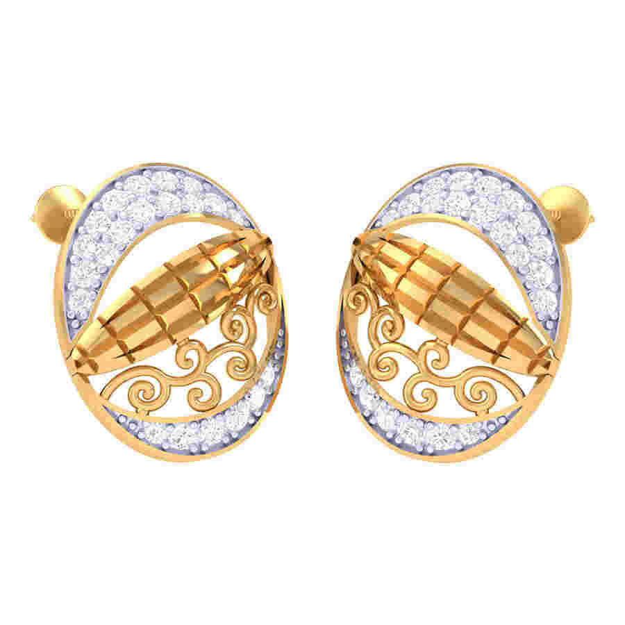 Oval Designing Diamond Earring