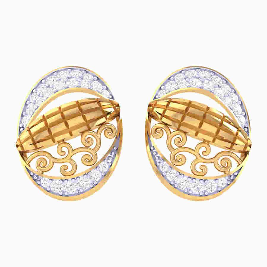 Oval Designing Diamond Earring