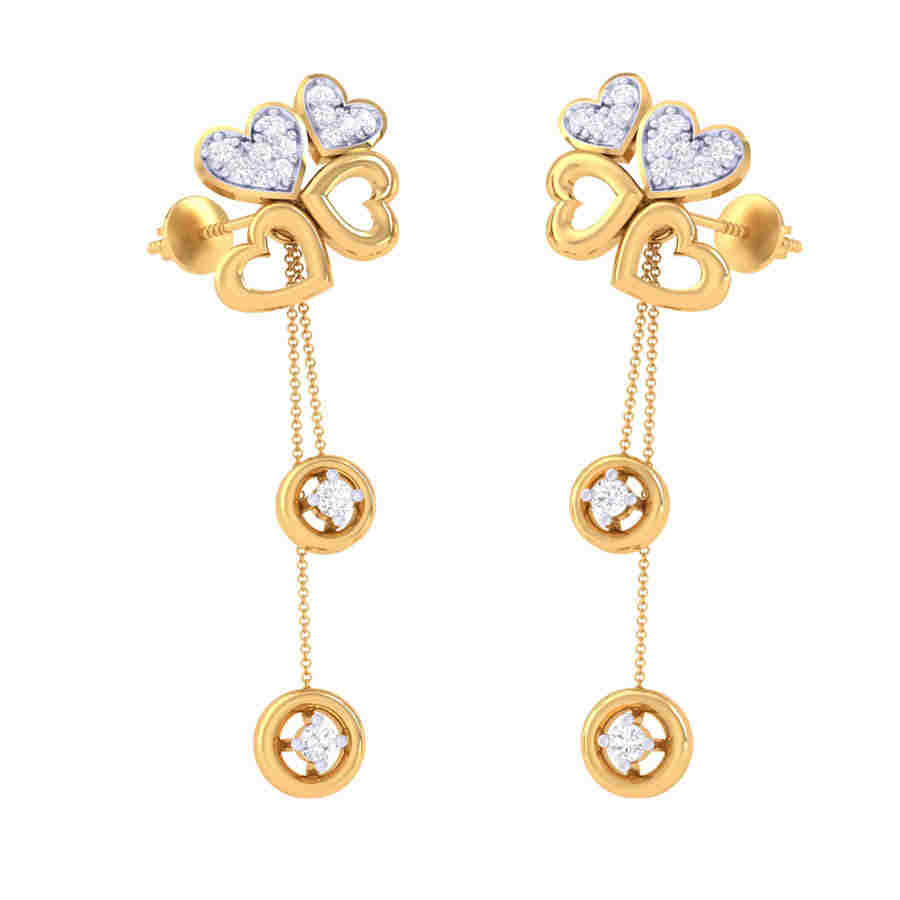 Heart Drop Diamond Earring